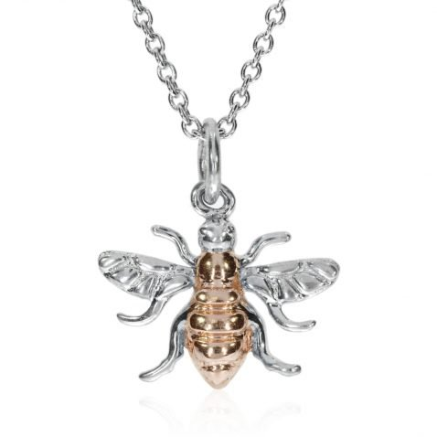 Small Sterling Silver Rose Gold Plated Bee Pendant P1396 Front