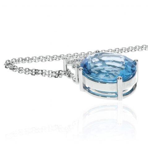 Stunning Swiss Blue Topaz and Diamond oval pendant by Heidi Kjeldsen Jewellery P1382 side