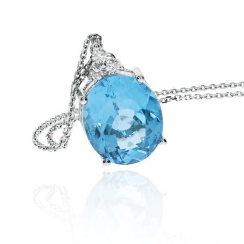 Stunning Swiss Blue Topaz and Diamond oval pendant by Heidi Kjeldsen Jewellery P1382 standing