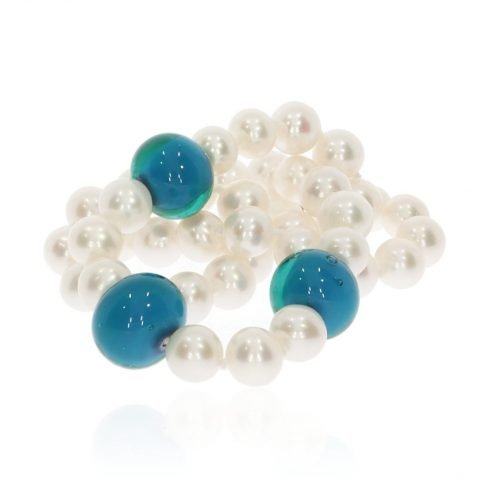 Blue Green Murano Glass and Cultured Pearl Necklace by Heidi Kjeldsen Jewellers NL1219 Stack