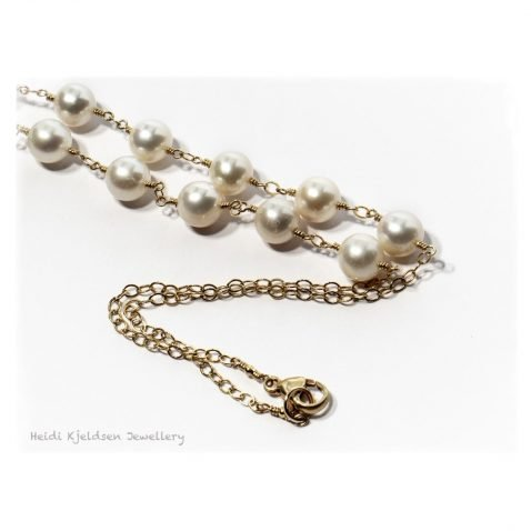 Elegant Cultured Pearl and Gold Filled Necklace by Heidi Kjeldsen Jewellers NL1240 B