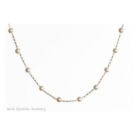 Gorgeous Cultured Pearl and Gold Necklace By Heidi Kjeldsen Jewellery NL1212 B