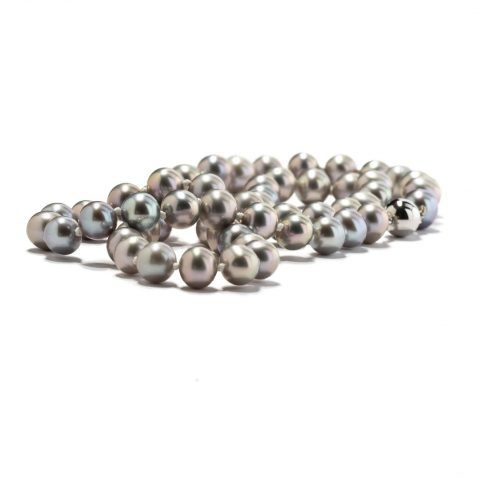 Silver Grey Cultured Pearl and White Gold Necklace by Heidi Kjeldsen Jewellers NL1211 B