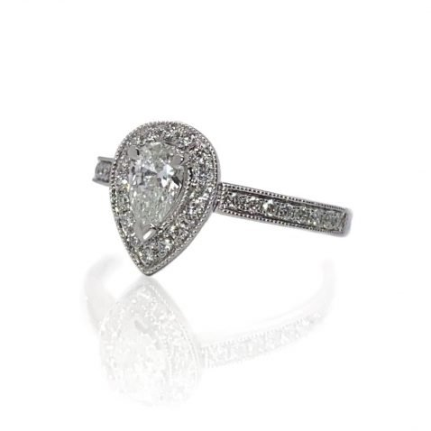 Beautiful Pear Shaped Diamond Engagement Ring by Heidi Kjeldsen Jewellery side view a