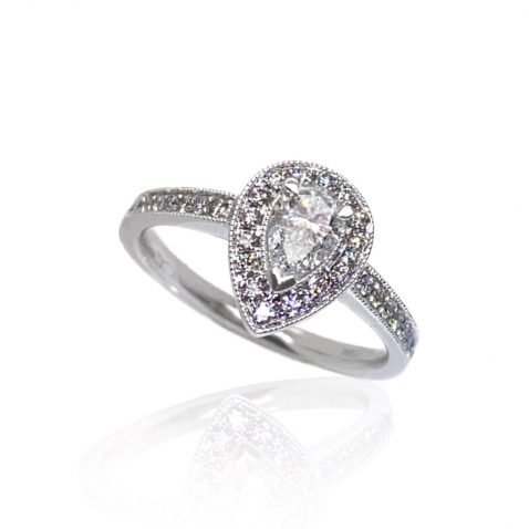 Beautiful Pear Shaped Diamond Engagement Ring by Heidi Kjeldsen Jewellery top view