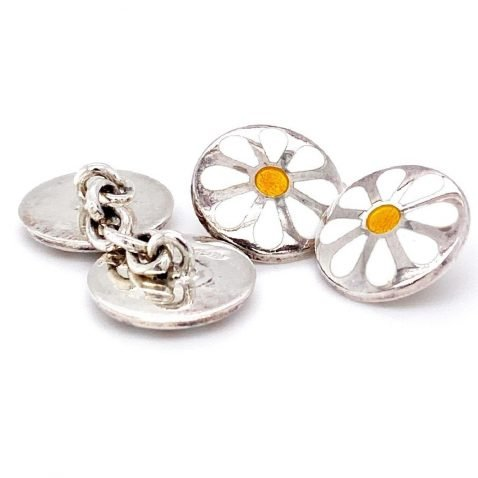 Stylish Daisy handmade sterling silver cufflinks by Heidi Kjeldsen Jewellery CL0227 A