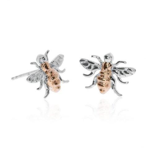 Delightful Sterling Silver and Rose Gold Plated Earrings by Heidi Kjeldsen Jewellers ER2505 Front View 2