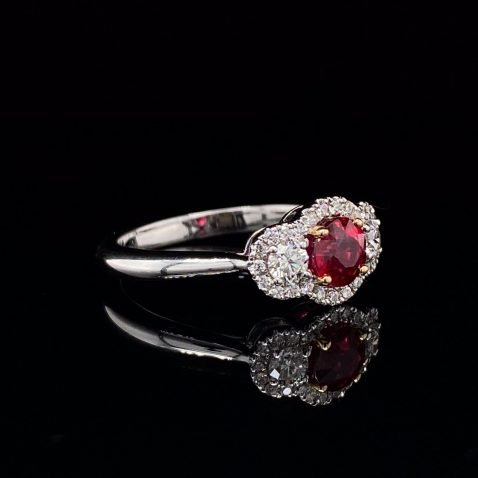 Glorious Ruby and Diamond Cluster Ring By Heidi Kjeldsen Jewellery R1203 on black