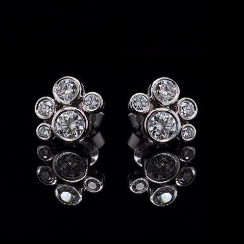 Scintillating Diamond Bubble Earrings By Heidi Kjeldsen Jewellery ER2501 on black
