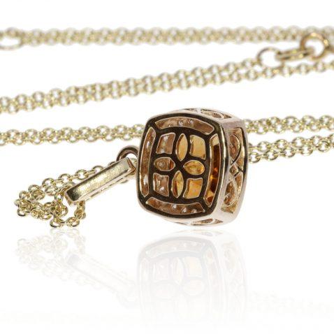 Gorgeous Madeira Citrine and Diamond Pendant by Heidi Kjeldsen Jewellery P1300 back
