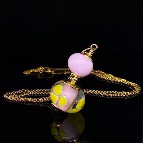 Pink and Yellow Murano Glass Floral Pendant By Heidi Kjeldsen jewellery P1398 on black