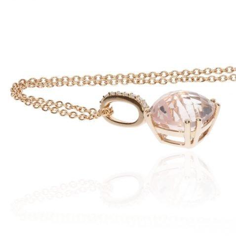 Rose Quartz and Diamond Rose Gold Pendant by Heidi Kjeldsen Jewellery NL1260 flat