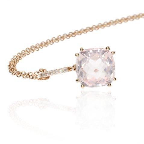 Rose Quartz and Diamond Rose Gold Pendant by Heidi Kjeldsen Jewellery NL1260 side view