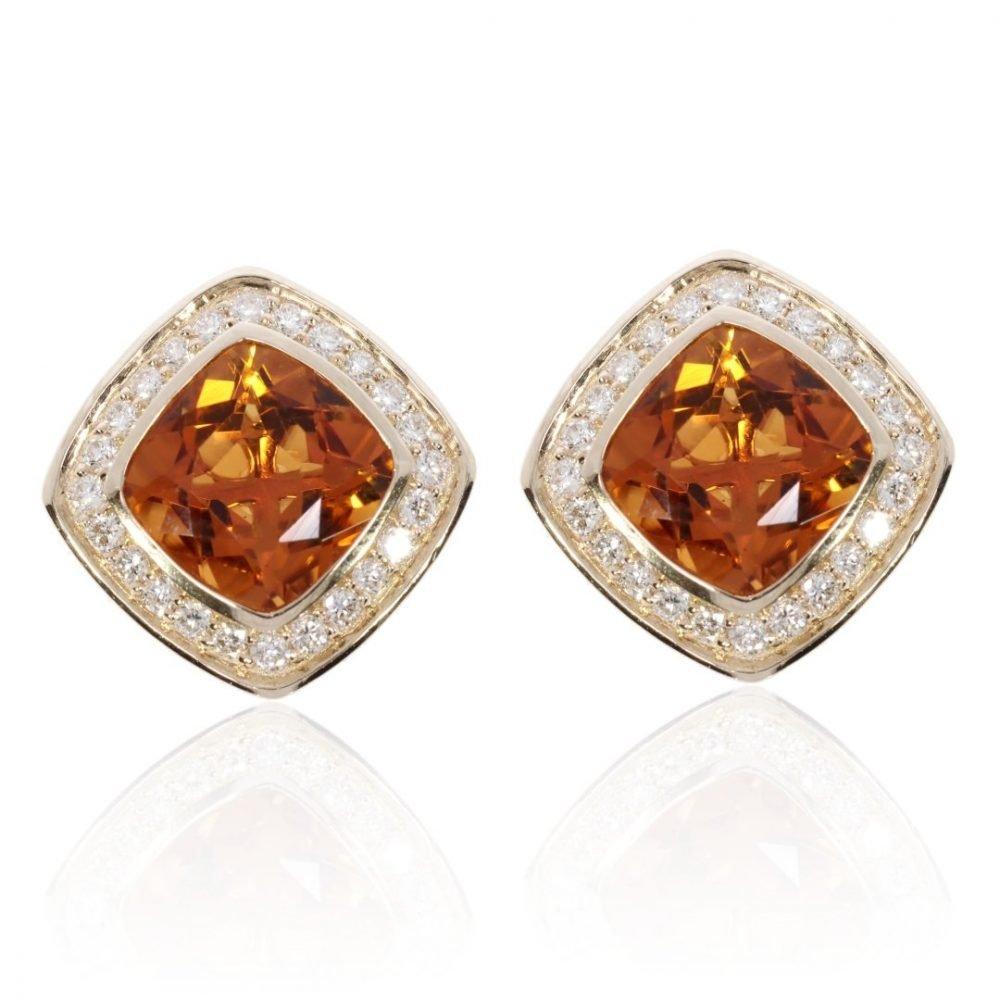 Stunning Madeira Citrine and Diamond Earrings by Heidi Kjeldsen Jewellery ER2451 front view