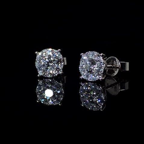 Stunning Diamond Cluster Earrings By Heidi Kjeldsen Jewellers ER2502 on black