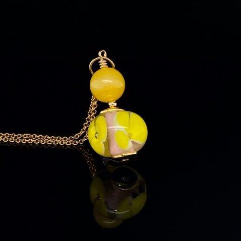Yellow Floral Murano Glass and yellow Agate Pendant By Heidi Kjeldsen Jewellers P1409 on black