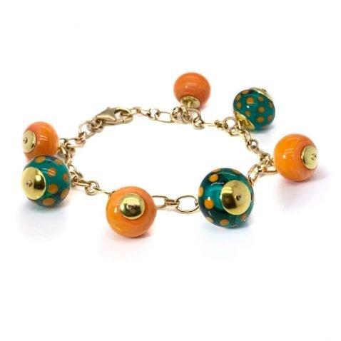 Gorgeous teal and orange Murano Glass Bracelet by Heidi Kjeldsen Jewellery BL1367 top view