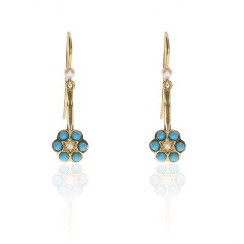 Beautiful Handmade Diamond, Turquoise and Cultured Pearl Drop Earrings By Heidi Kjeldsen Jewellery ER1060 Front