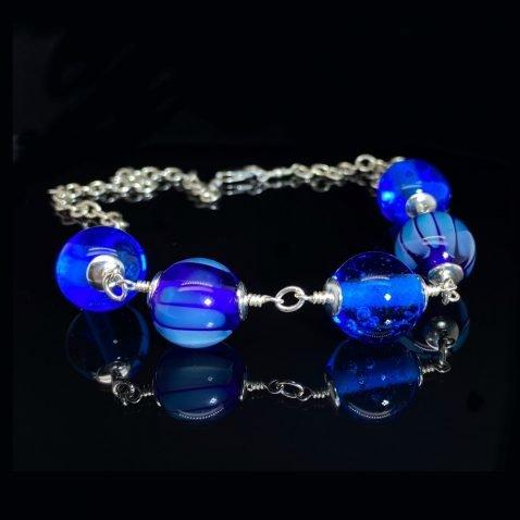 Blue Murano Glass By Heidi Kjeldsen Jewellery NL1256 on black