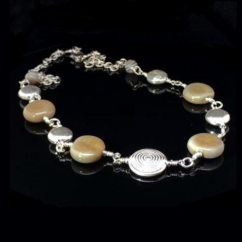 Stylish Khaki Murano Glass and Botswana Agate Necklace By Heidi Kjeldsen Jewellery NL1263