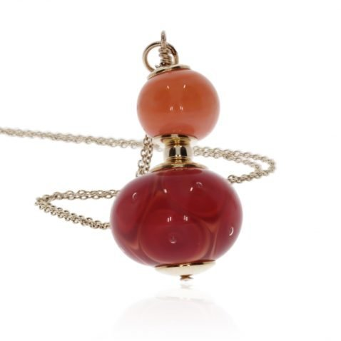 Gorgeous Orange and Red Murano Glass Pendant By Heidi Kjeldsen Jewellery P1413 standing