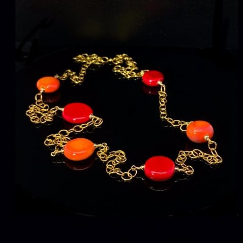 Pretty Red and Orange Murano Glass Necklace BY Heidi Kjeldsen Jewellery NL1265 on black