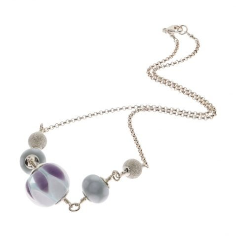 Purple and Grey Murano Glass and Silver Necklace By Heidi Kjeldsen Jewellers NL1261 Top view