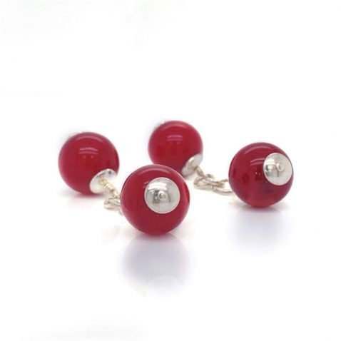 Red Agate and Sterling Silver Gemstone Cufflinks By Heidi Kjeldsen Jewellery CL291 end view