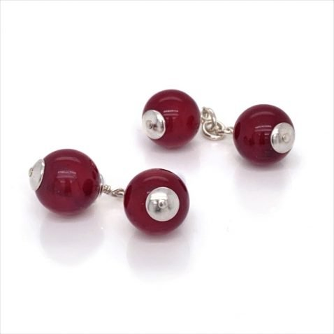 Red Agate and Sterling Silver Gemstone Cufflinks By Heidi Kjeldsen Jewellery CL291 side view