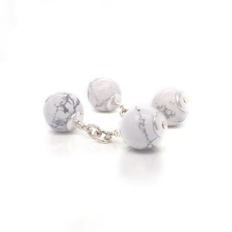 Attractive White Howlite and Sterling Silver Cufflinks CL293 side view by Heidi Kjeldsen Jewellery