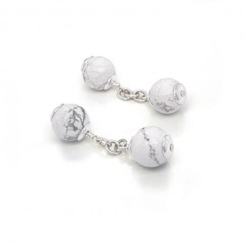 Attractive White Howlite and Sterling Silver Cufflinks CL293 on top view by Heidi Kjeldsen Jewellery