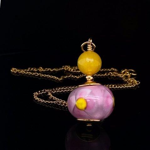 Pretty Yellow Agate and Heidi's Murano Glass Pendant P1399 on black
