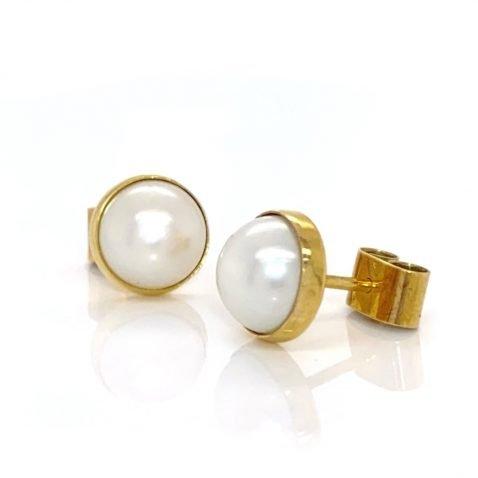 Akoya Cultured Pearl And Gold Earstuds By Heidi Kjeldsen Jewellery ER1797 B