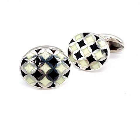 Black and white harlequin enamel cufflinks by Heidi Kjeldsen Jewellery CL0211 side view 1