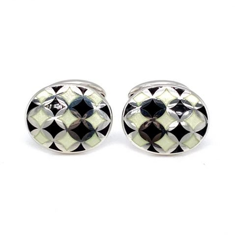 Black and white harlequin enamel cufflinks by Heidi Kjeldsen Jewellery CL0211 front view 1