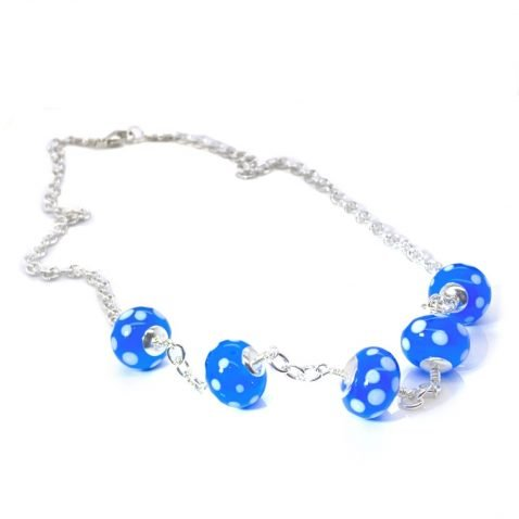 Blue and white Dotted Murano Glass Necklace NL1270 A