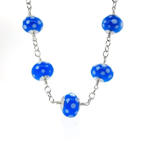 Blue and white Dotted Murano Glass Necklace NL1270 B
