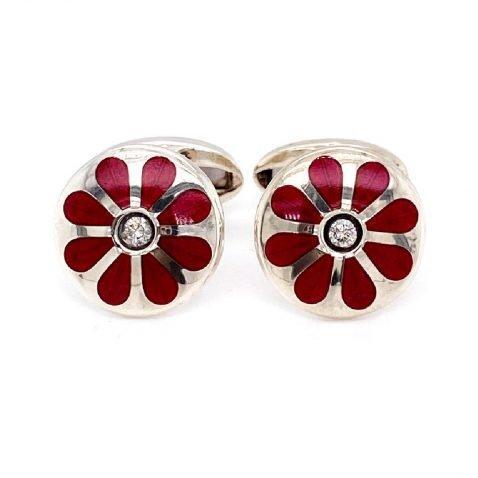 Diamond and cerise floral cufflinks by Heidi Kjeldsen jewellery front view CL0230