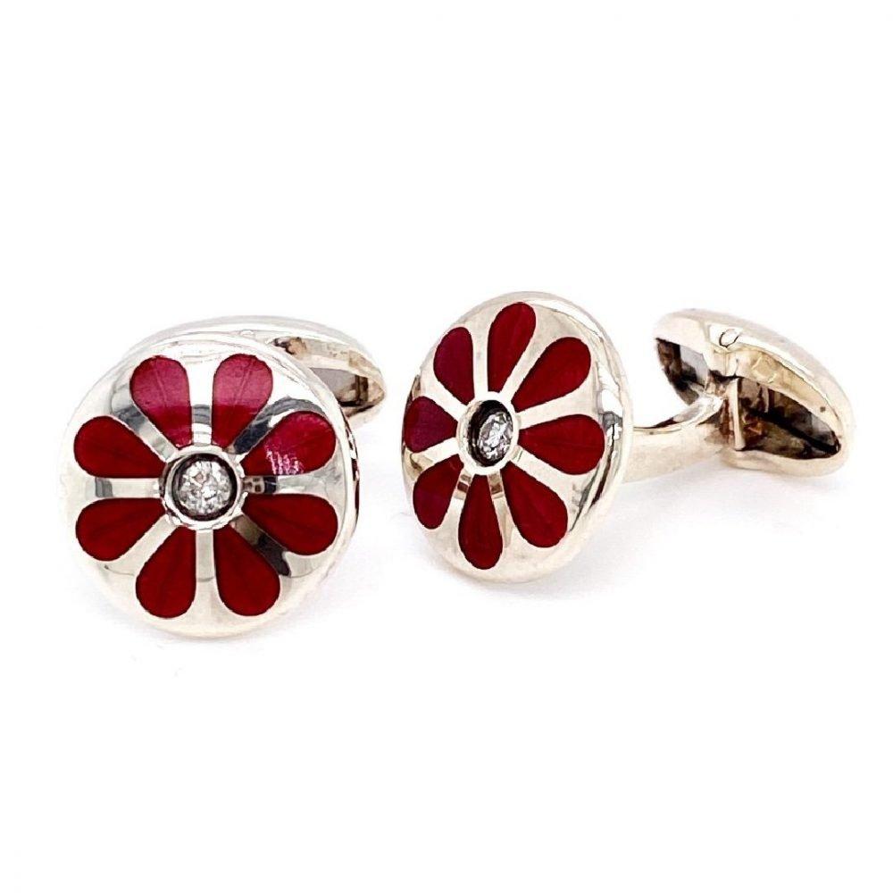 Diamond and cerise floral cufflinks by Heidi Kjeldsen jewellery side view CL0230