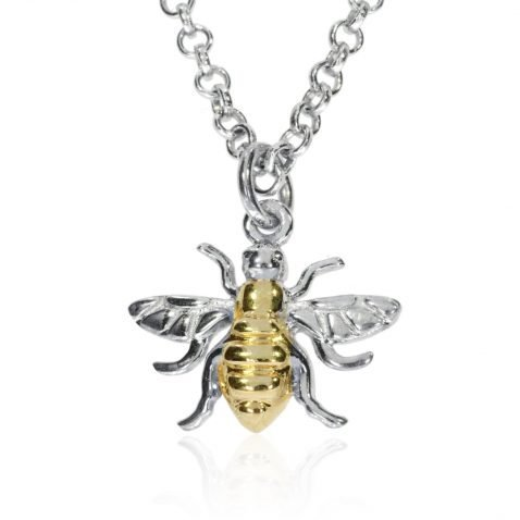 Small Gold Plated Sterling Silver Bee Pendant P1395 Front View