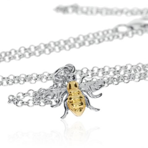 Small Gold Plated Sterling Silver Bee Pendant P1395 Standing View