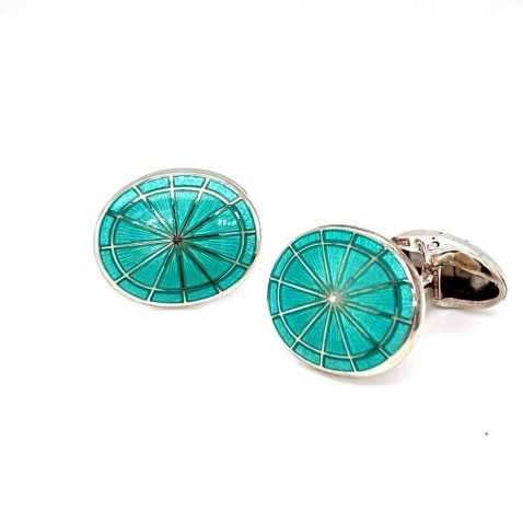 Gorgeous Mint Green Sterling Silver Cufflinks by Heidi Kjeldsen Jewellery CL0236 side view