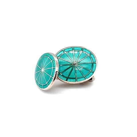 Gorgeous Mint Green Sterling Silver Cufflinks by Heidi Kjeldsen Jewellery CL0236 front view