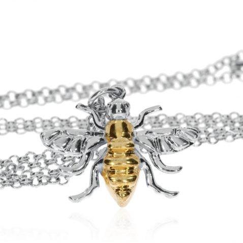 Large Gold Plated Sterling Silver Bee by Heidi Kjeldsen jewellers P1392 Standing