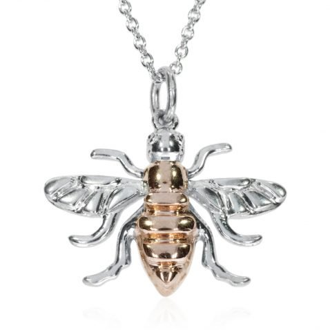Large Rose Gold Plated Sterling Silver Bee by Heidi Kjeldsen jewellers P1393 Front