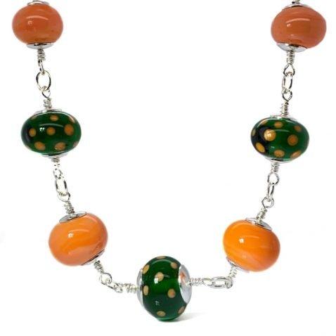 Orange and green murano glass necklace by Heidi Kjeldsen Jewellery NL1273 A