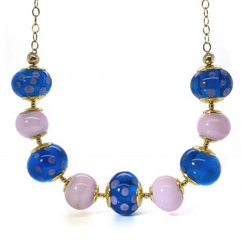 Stylish Pink And Blue Murano Glass Necklace By Heidi Kjeldsen Jewellery NL1274 Front View
