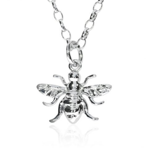 Small Sterling Silver Bee Pendant P1396 Front