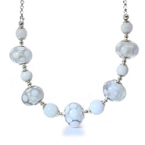White Spotty Murano Glass necklace By Heidi Kjeldsen Jewellery NL1271 front view