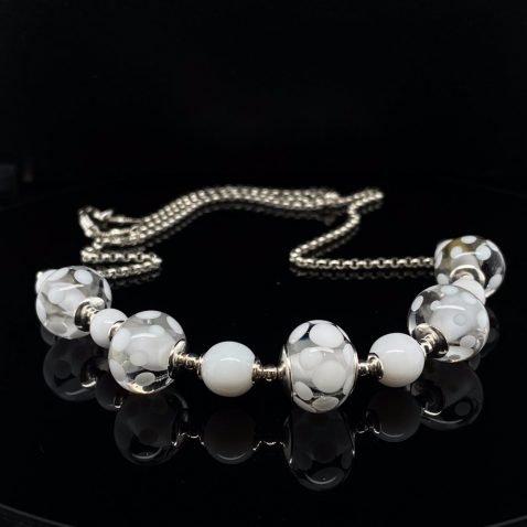 White Spotty Murano Glass necklace By Heidi Kjeldsen Jewellery NL1271 on black